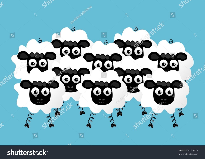 Flock of Sheep Clip Art