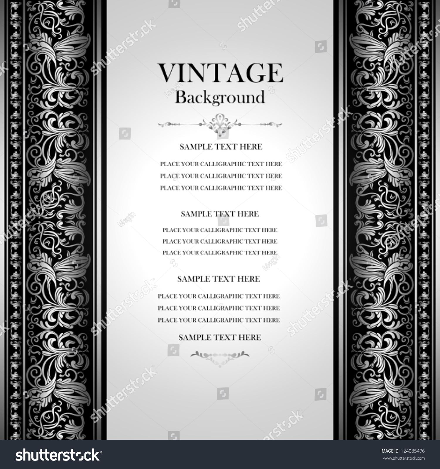 vintage elegant background antique victorian silver stock vector 124085476