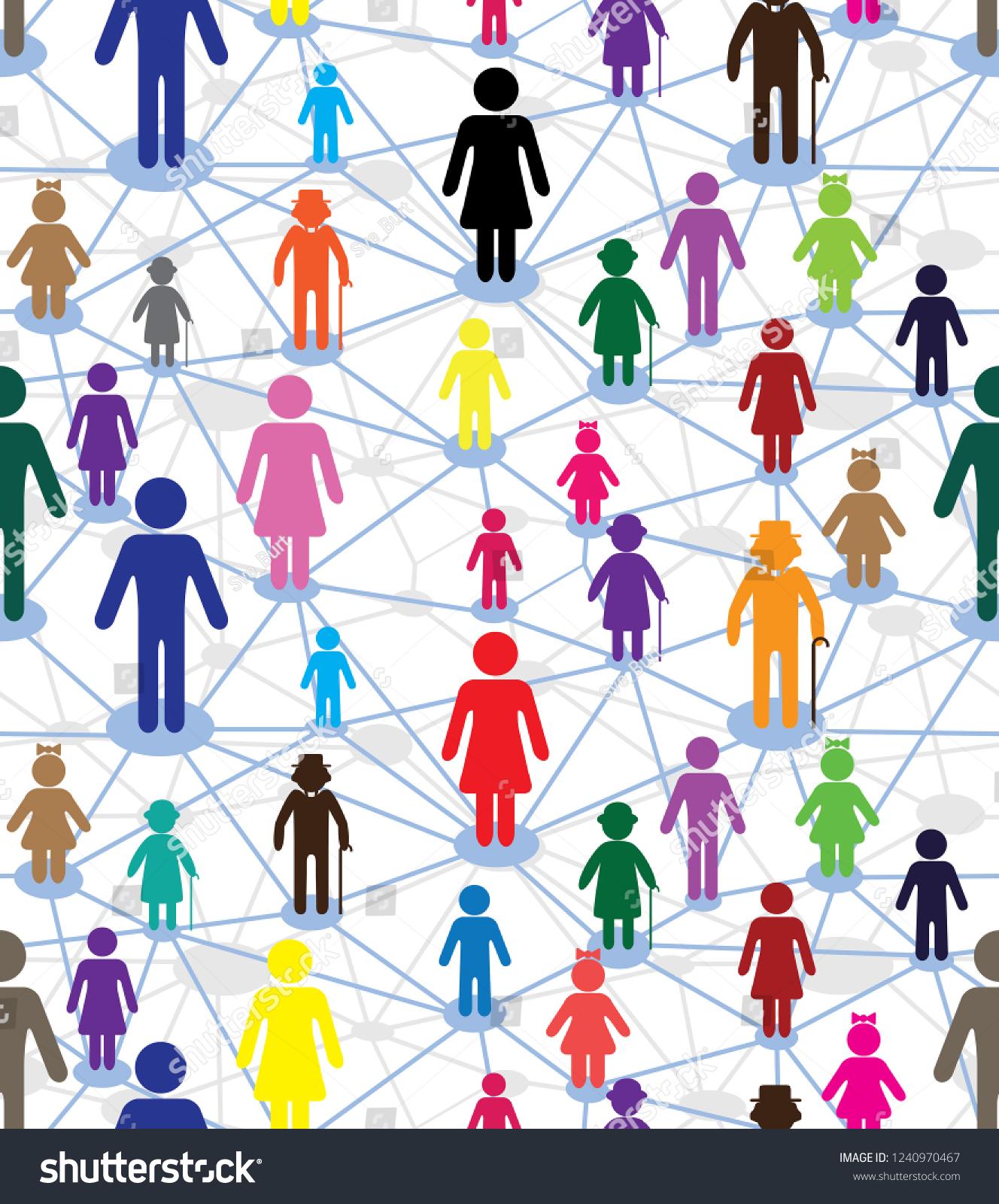 Vector Generation Diagram People Web Relationship Stock Vector Royalty Free 1240970467