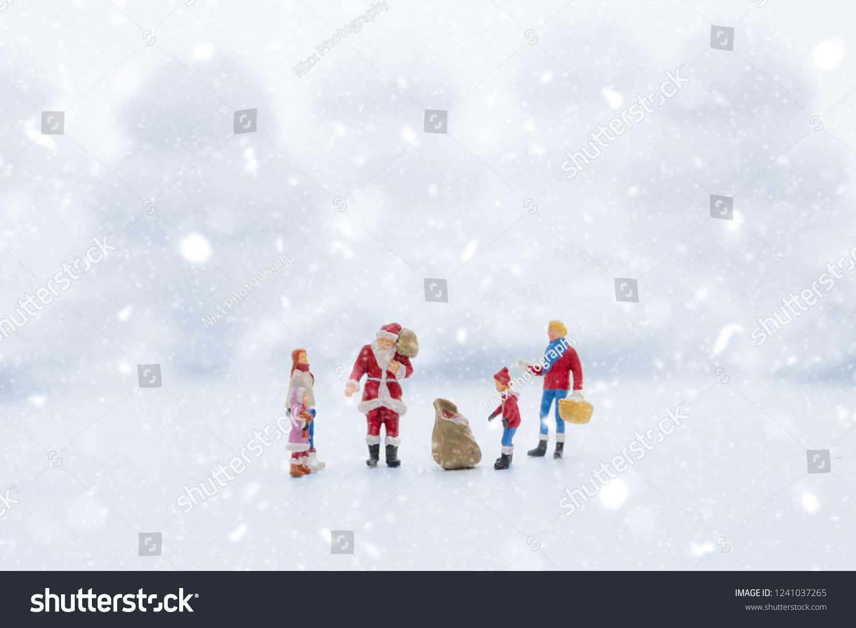 Miniature People Christmas Theme Santa Claus Stock Photo (Edit Now