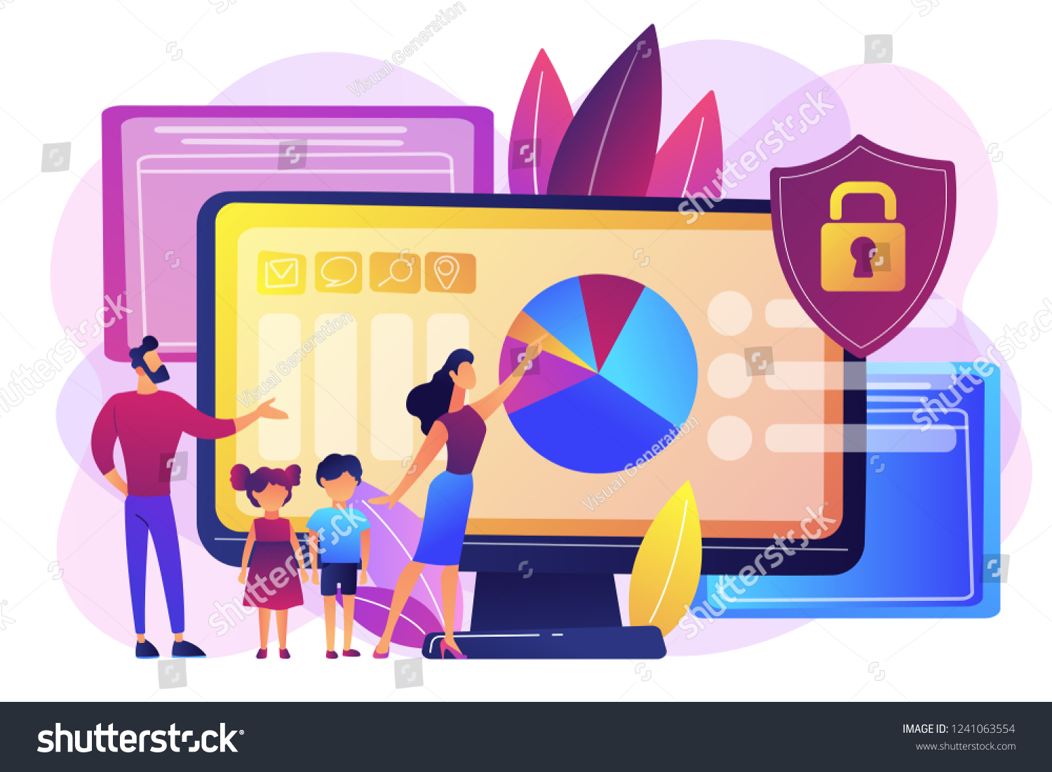 Parents Children Using Content Control Software Stock Vector Royalty Free 1241063554
