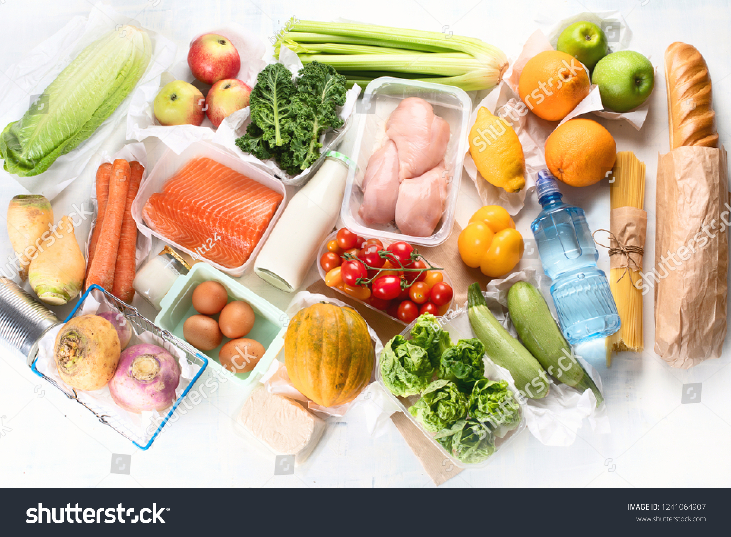 Grocery. Different health food. Grocery shopping concept. Balanced diet. Top view  #1241064907