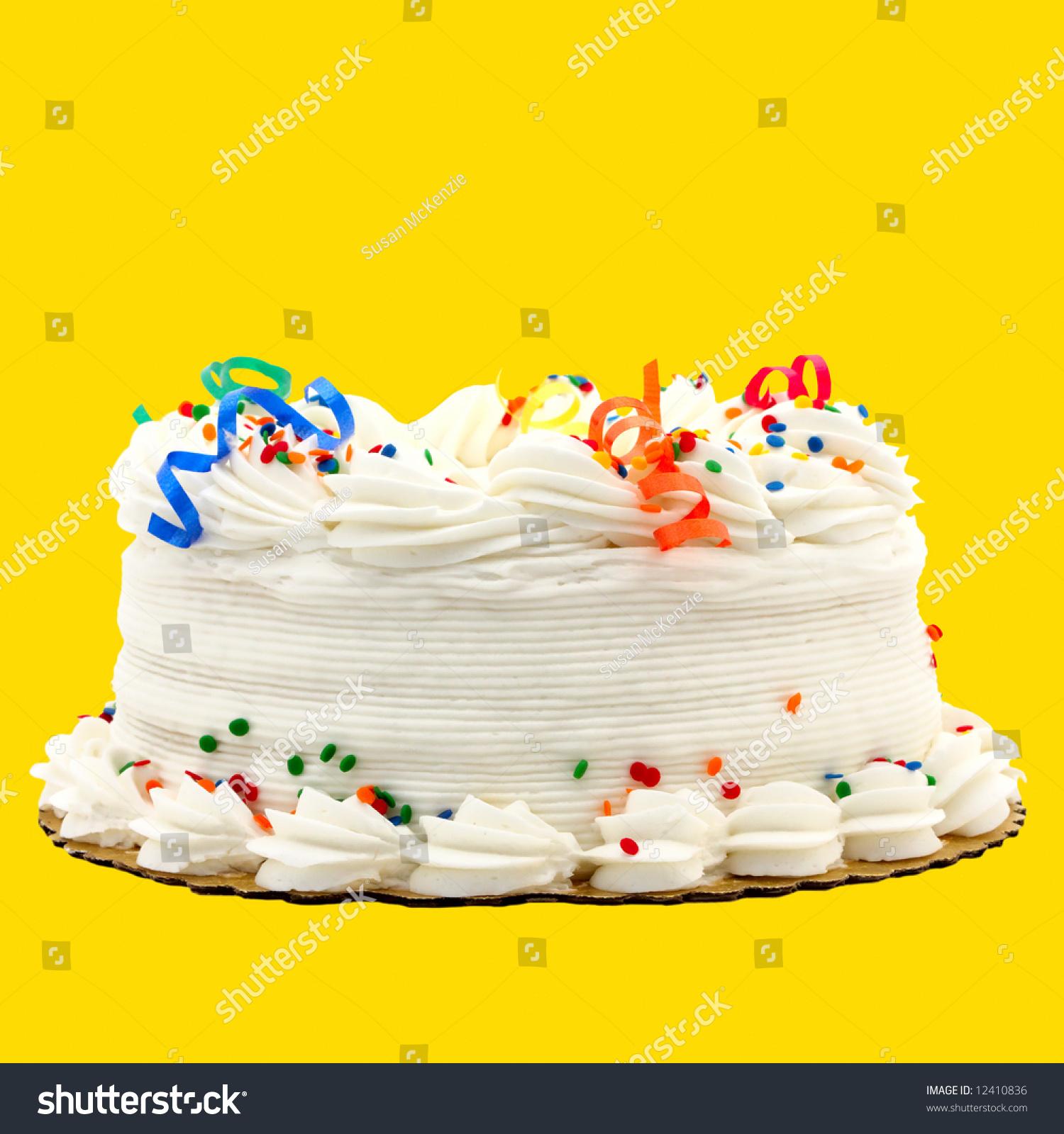 Delicious White Vanilla Birthday Cake Red Stock Photo