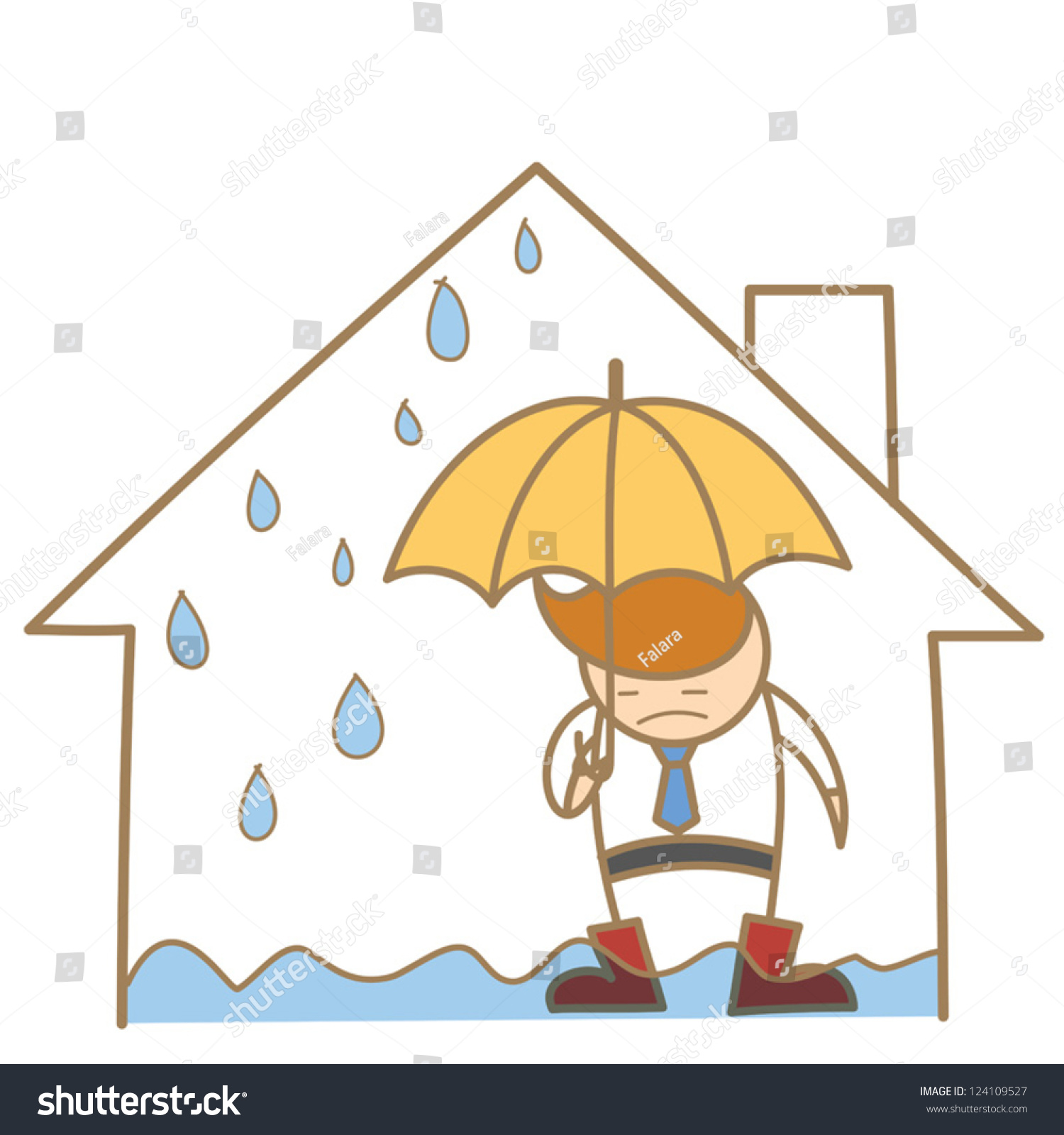 Cartoon Character Man Leak Roof House Stock Vector 124109527 ...