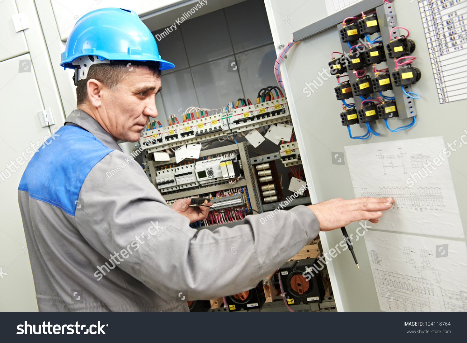 One Electrician Builder Work Checking Wire Stock Photo 124118764 ...