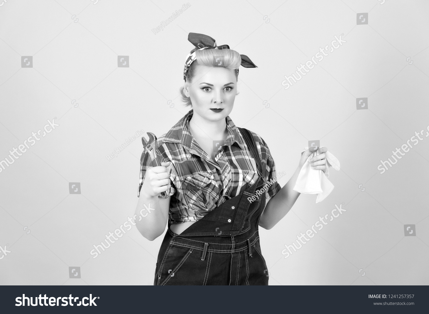 c0d7fc3db Young Strong Girl Pinup Style Dissatisfied Stock Photo (Edit Now ...