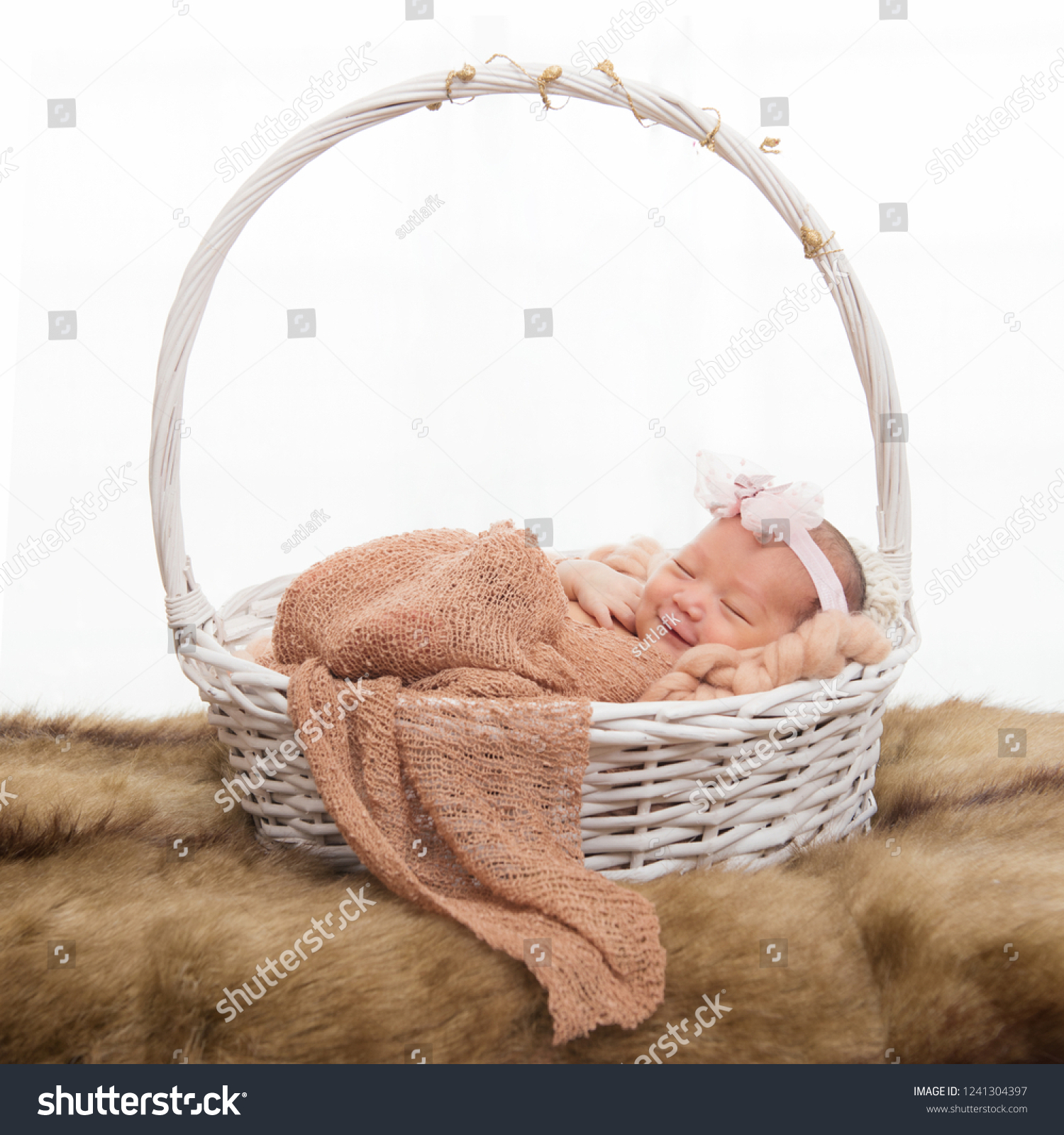 Newborn Baby Sleep On White Basket Stock Photo Edit Now 1241304397
