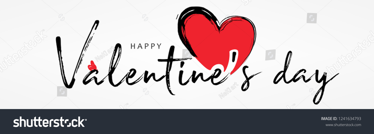 Valentines day background with  heart pattern and typography of happy valentines day text . Vector illustration. Wallpaper, flyers, invitation, posters, brochure, banners.  #1241634793