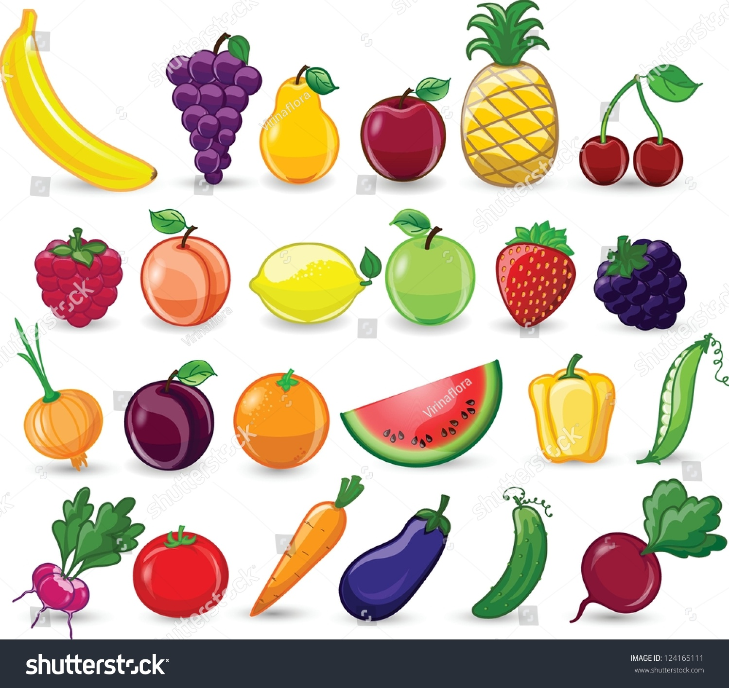 cartoon vegetables fruits stock vector 124165111