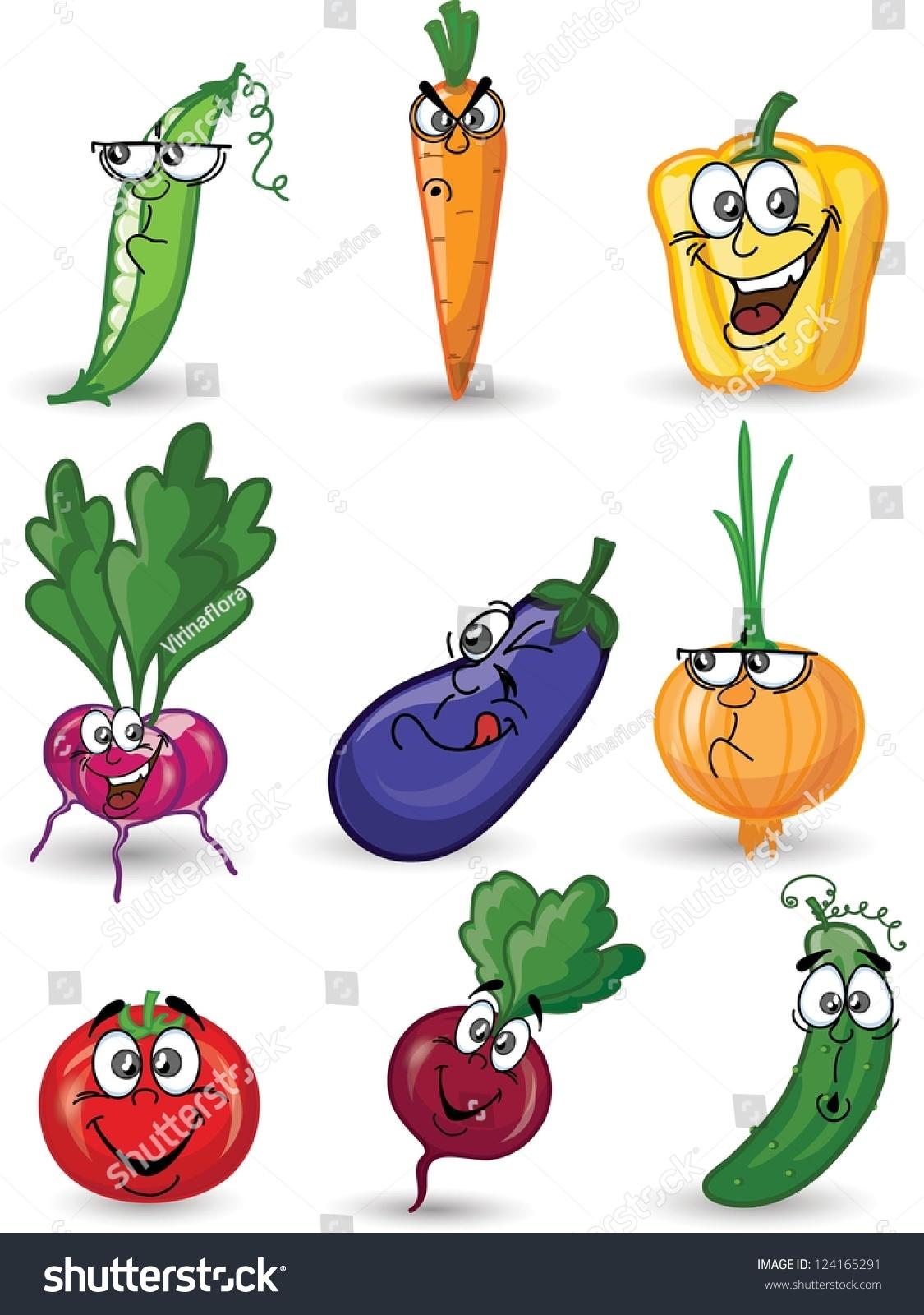 Cartoon Vegetables Faces Stock Vector 124165291 - Shutterstock