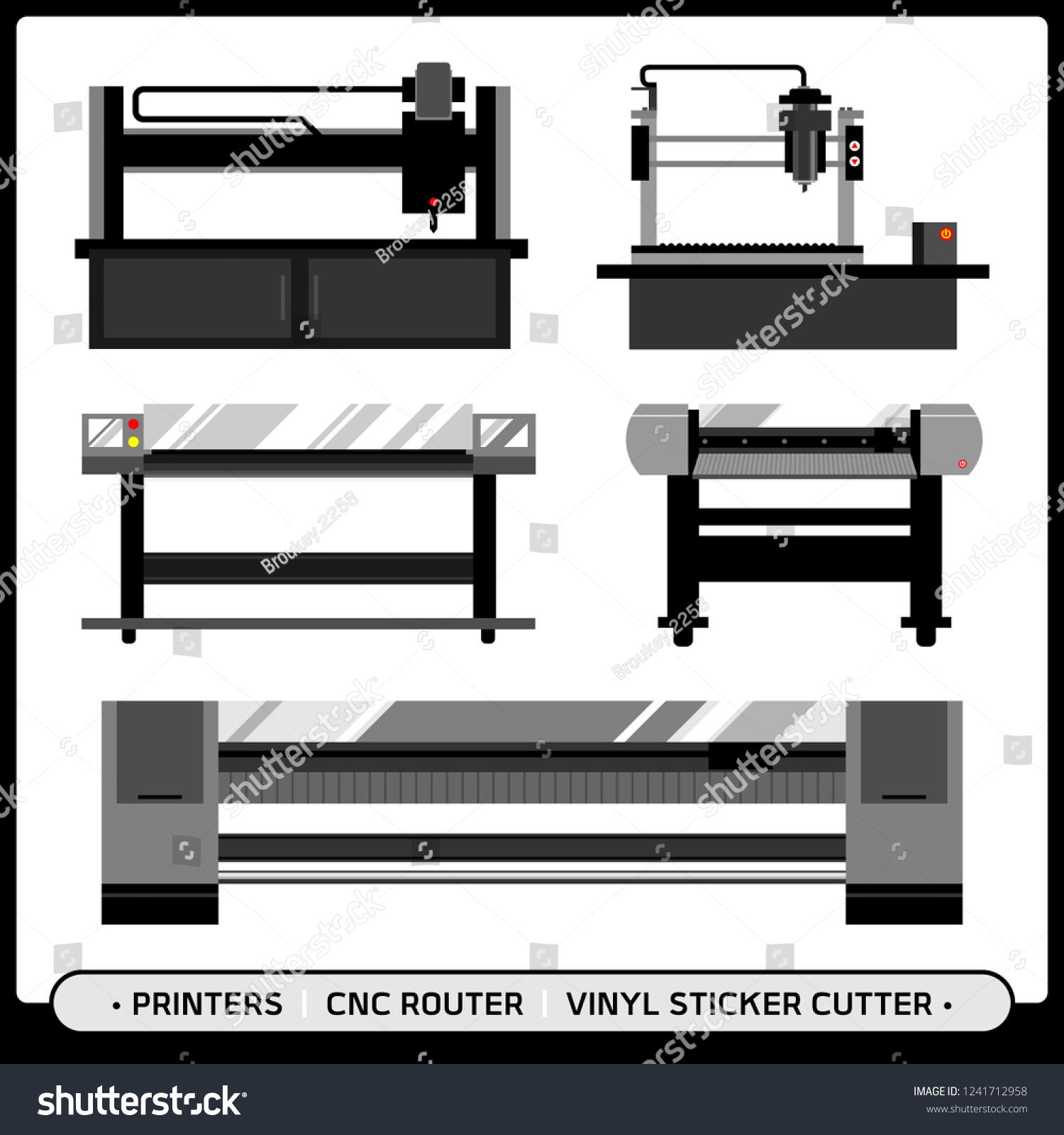 Signage Shop Machineries Cnc Router Mini Stock Vector