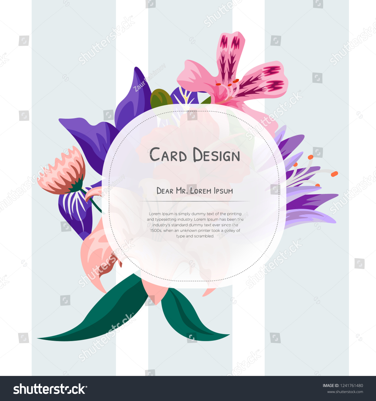 Wedding Event Invitation Card Design Tropical Stock Vector Royalty Free 1241761480
