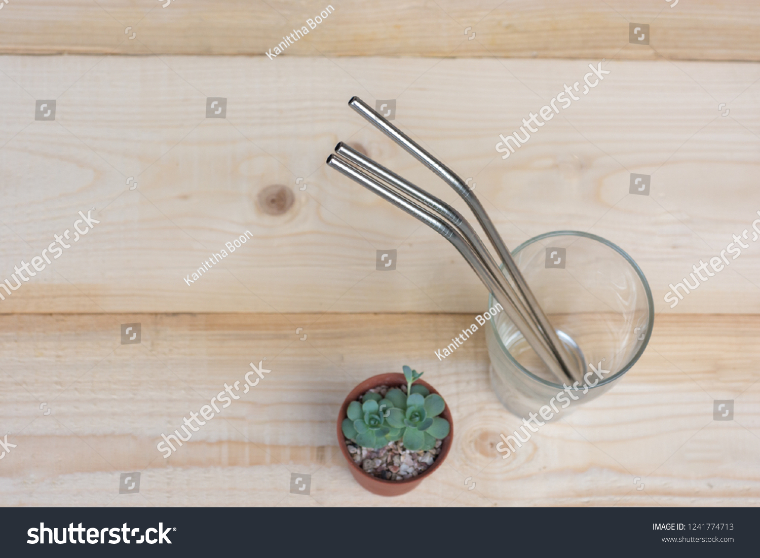 Reusable straws made of stainless steel in a glass on wooden table decorated with potted