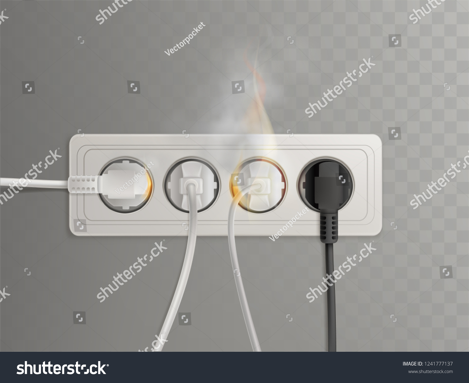 Flaming Power Plugs Horizontal Electrical Socket Stock Vector Realistic Wiring Diagram In Illustration Isolated On Transparent Background Short