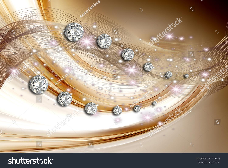 3d Wallpaper Diamonds Beautiful Curly Manner Stock Illustration 1241786431