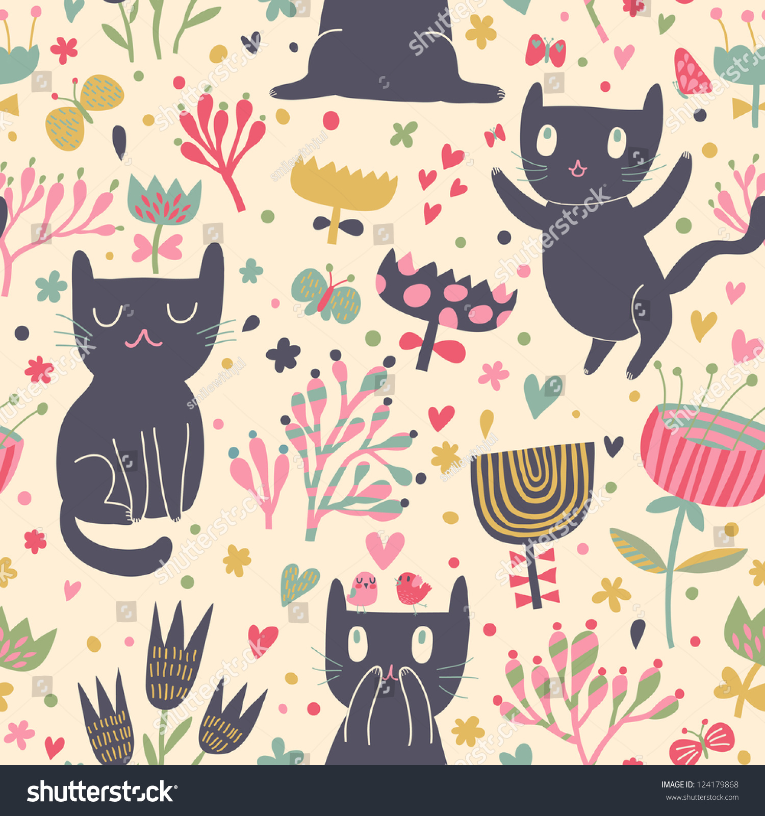 Funny cats cartoon style sweet chilrends stock vector - Cartoon cat background ...