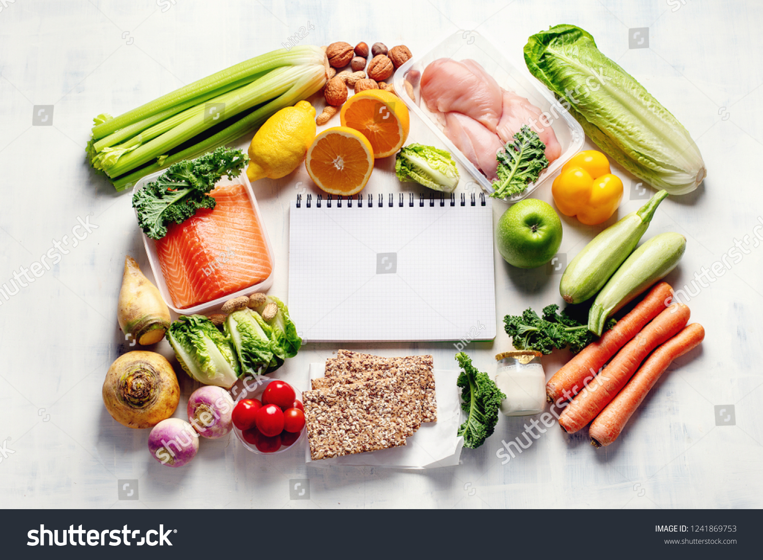 Healthy eating plan. Diet and meal planning. Top view. Flat lay #1241869753