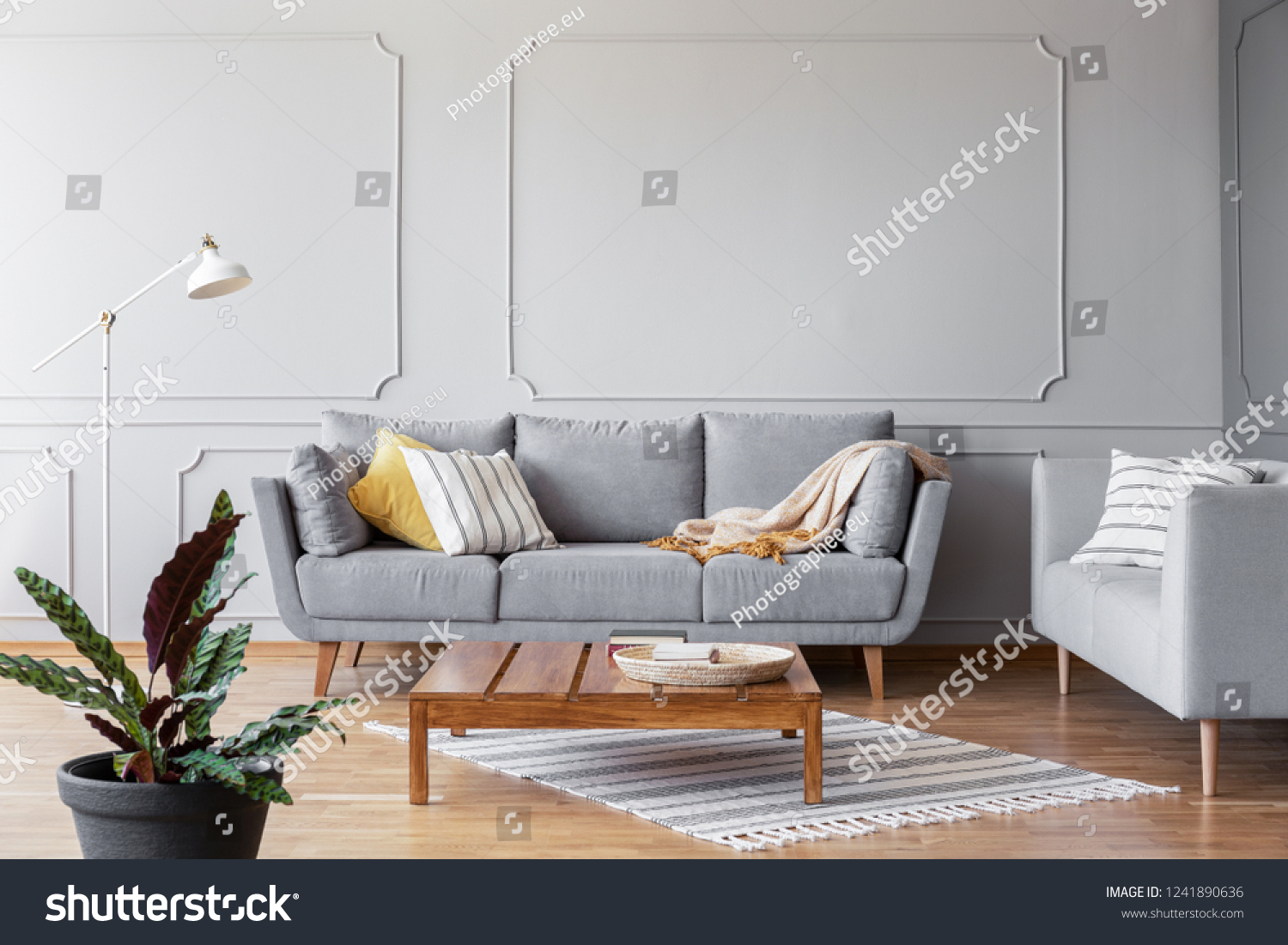 Pleasing Wooden Coffee Table Middle Grey Living Stock Photo Edit Now Machost Co Dining Chair Design Ideas Machostcouk