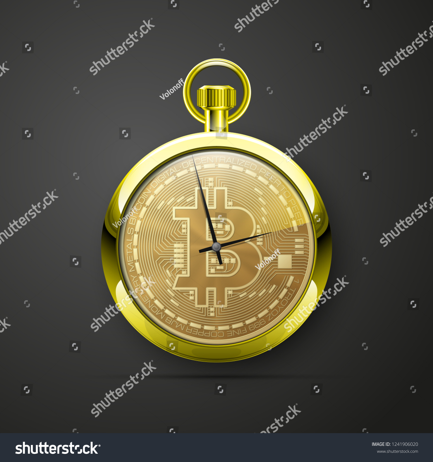 Hud Stopwatch Bitcoin Digital Currency Pocket Stock Vector