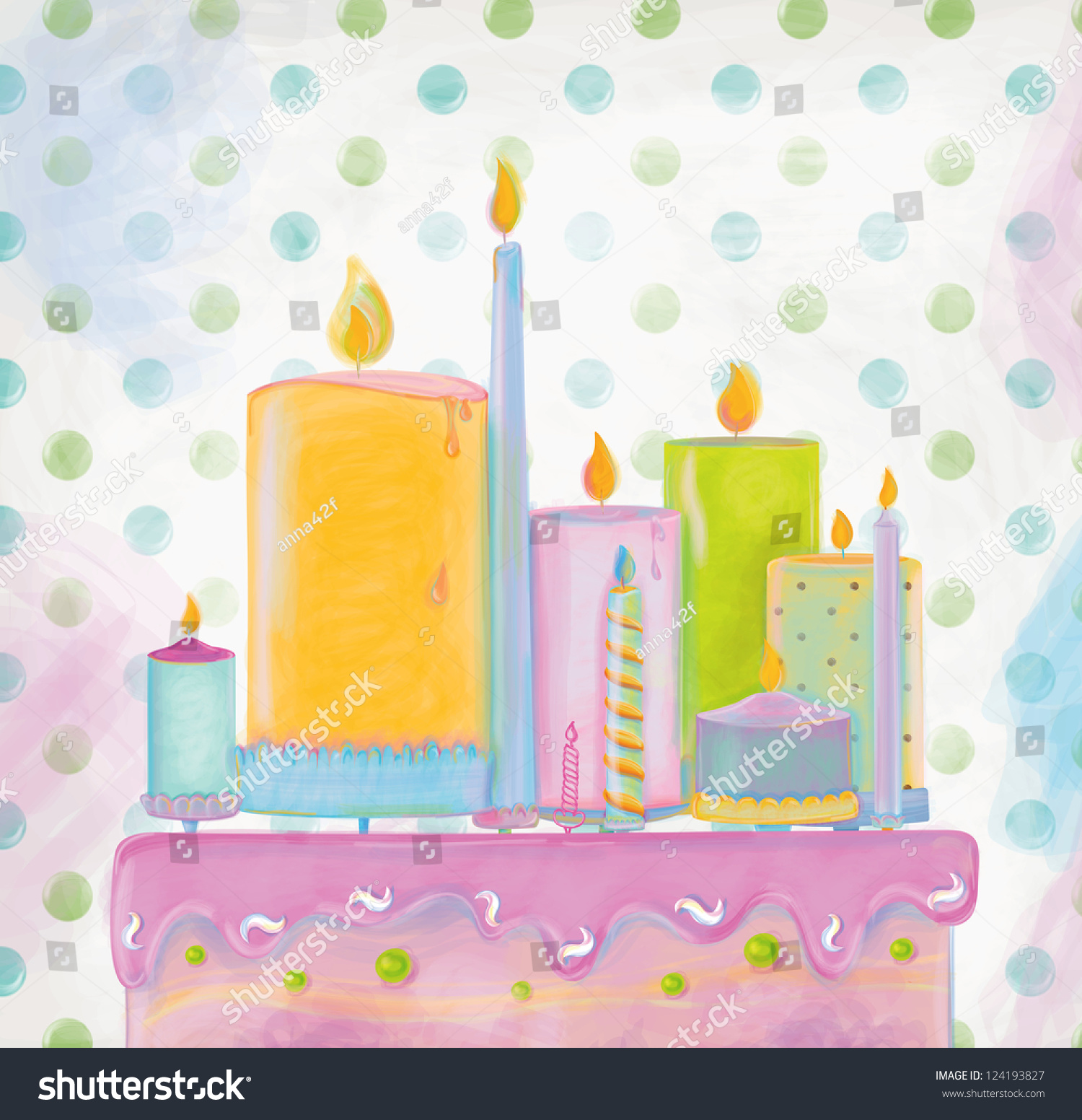 Birthday Cake With Many Types Of Candles On It