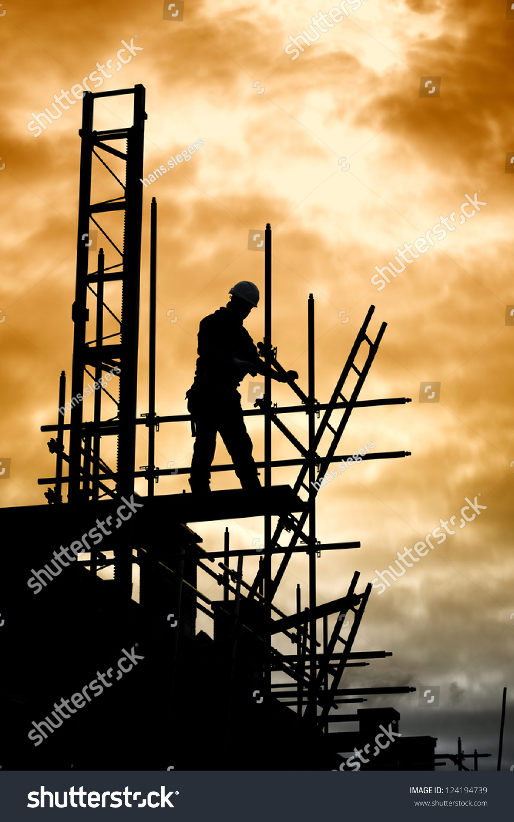 builder silhouette construction worker on scaffold stock photo builder silhouette of construction worker on scaffold