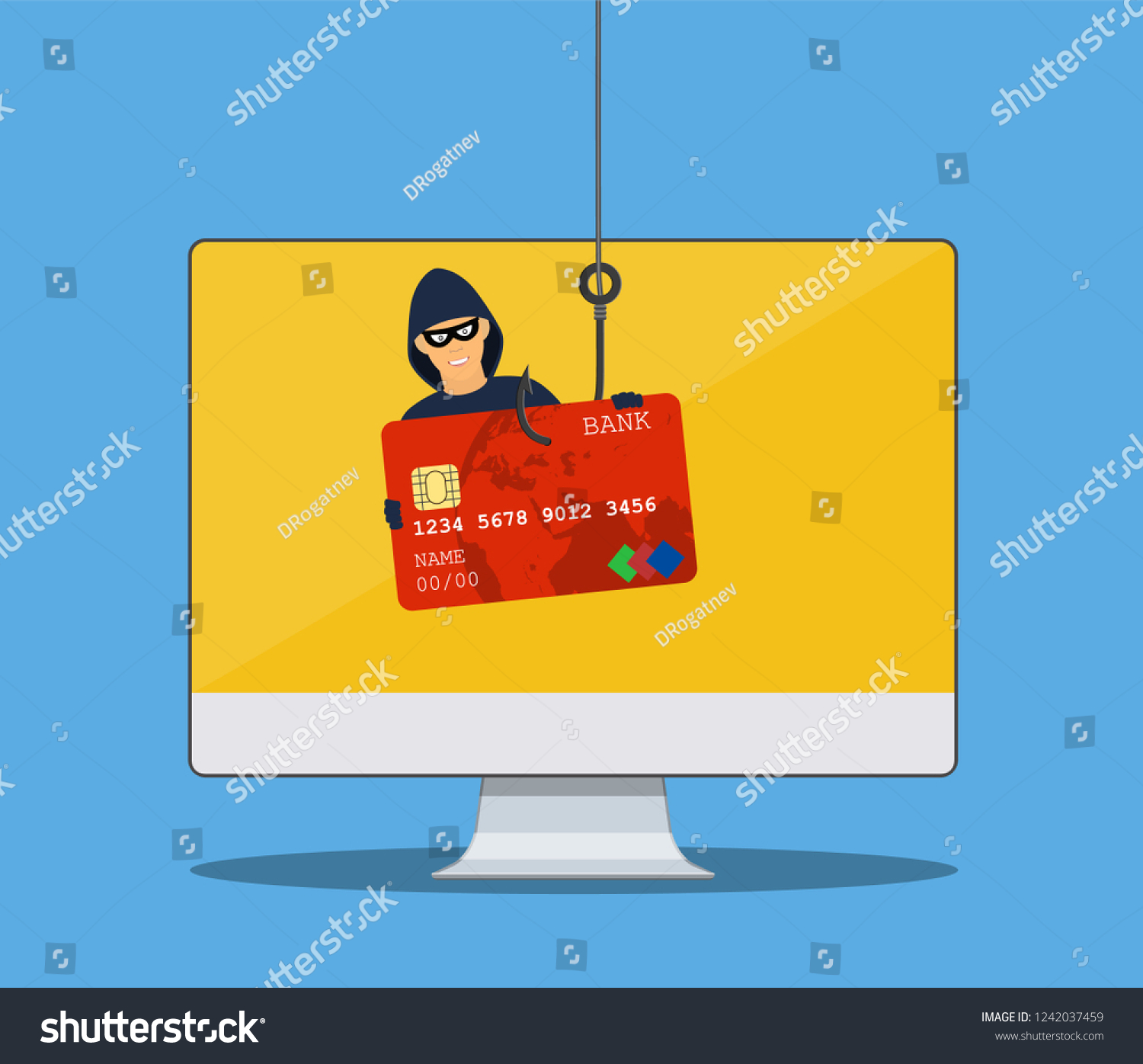 Royalty Free Stock Illustration of Thief Hacker Mask Stealing Credit