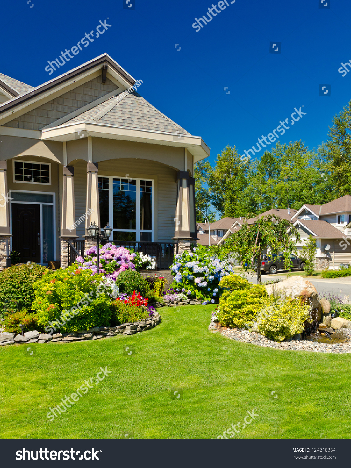 Fragment of a nice house with gorgeous outdoor landscape for Nice home image