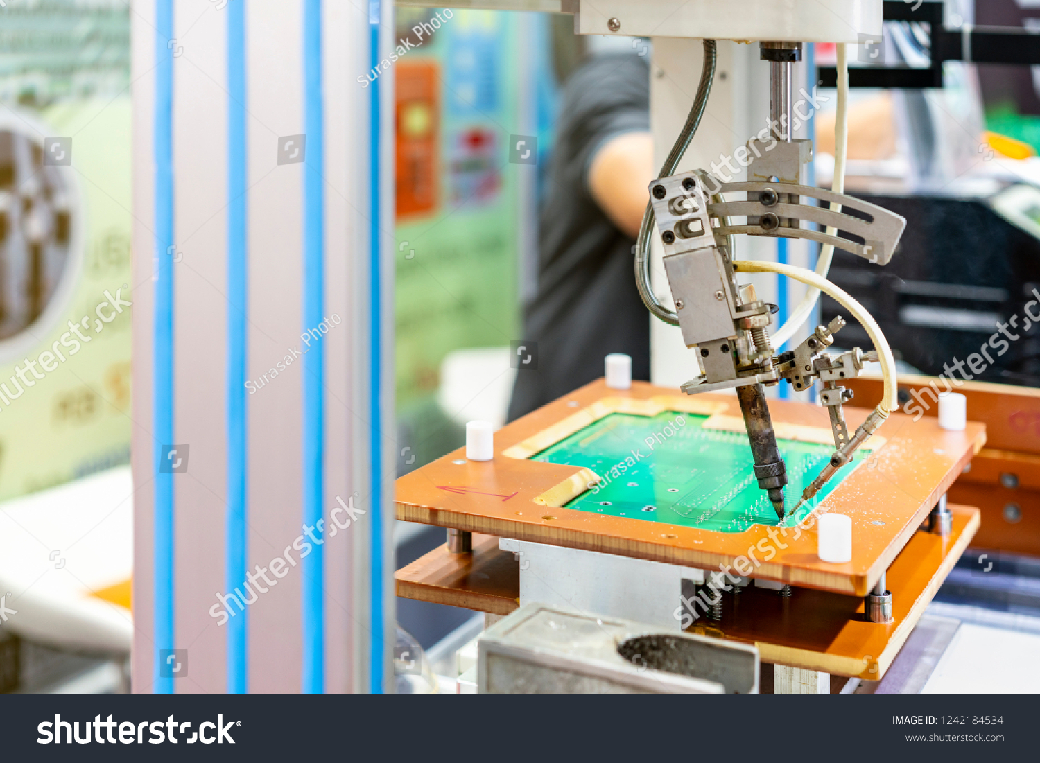 High Technology Modern Automatic Robot Pcb Stock Photo Edit Now Printed Circuit Board Assembly And For Print Machine During