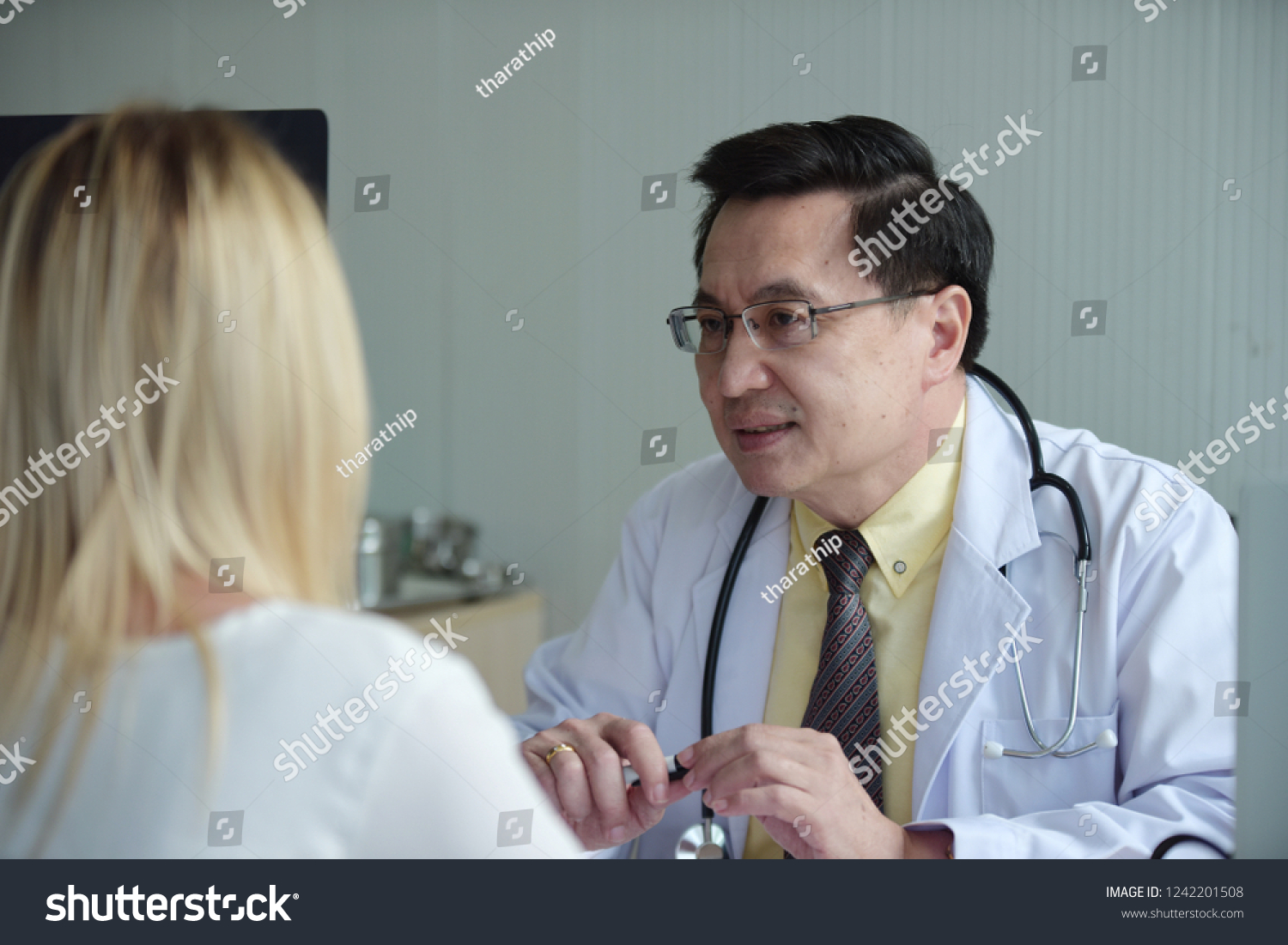 Woman Talking Doctor Psychiatrist Hospital Discuss Issue Stock Photo