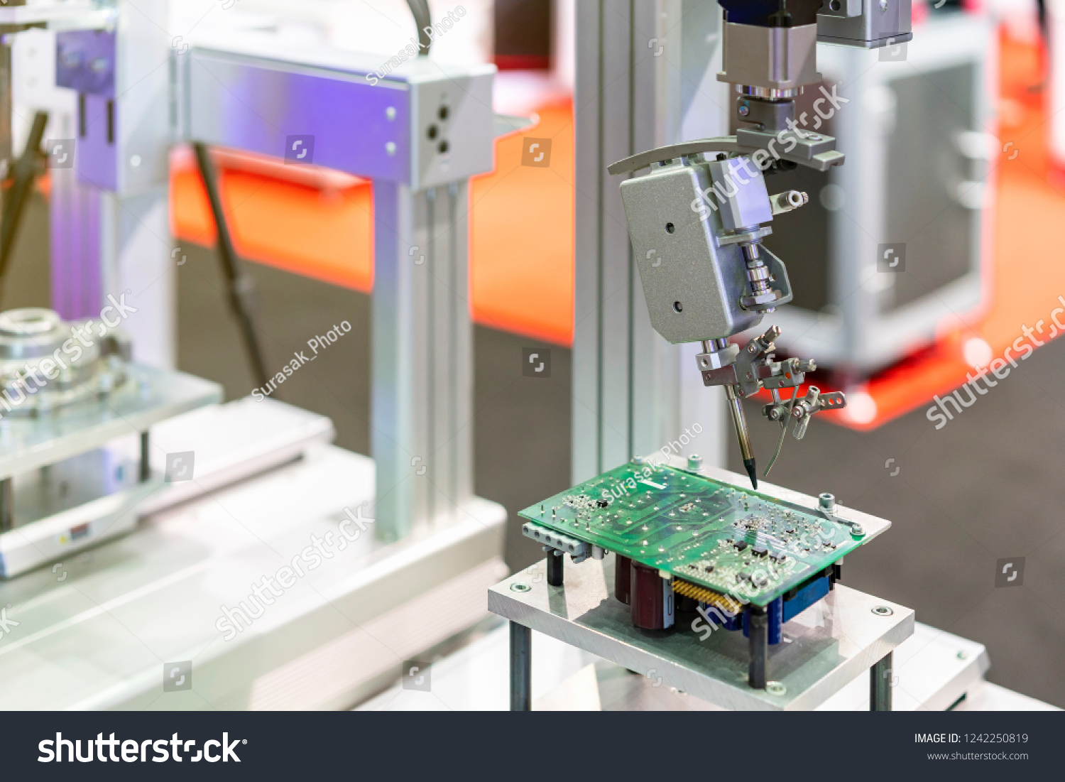 High Technology Modern Automatic Robot Pcb Stock Photo Edit Now Board Assembly Services Buy Circuit Assemblyelectronic And For Print Machine During