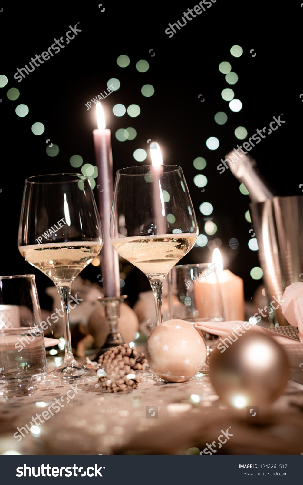Christmas Eve Party Table Wine Glass Stock Photo Edit Now