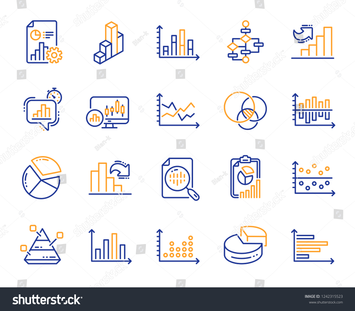 Charts Diagrams Line Icons Report 3d Stock Vector (Royalty