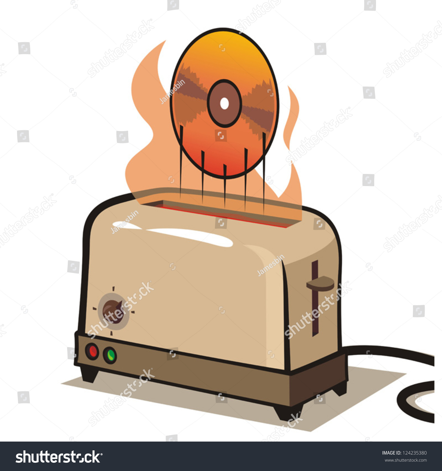 Toaster Ejecting Hot Dvd Stock Vector Shutterstock