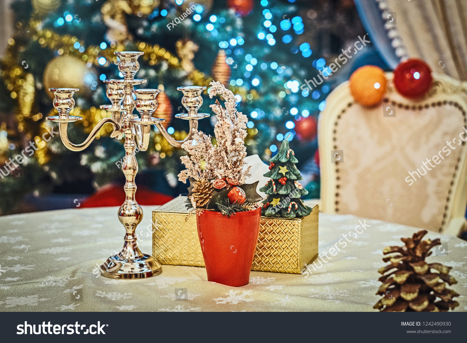 Traditional Christmas Elegant Living Room Decorated Stock