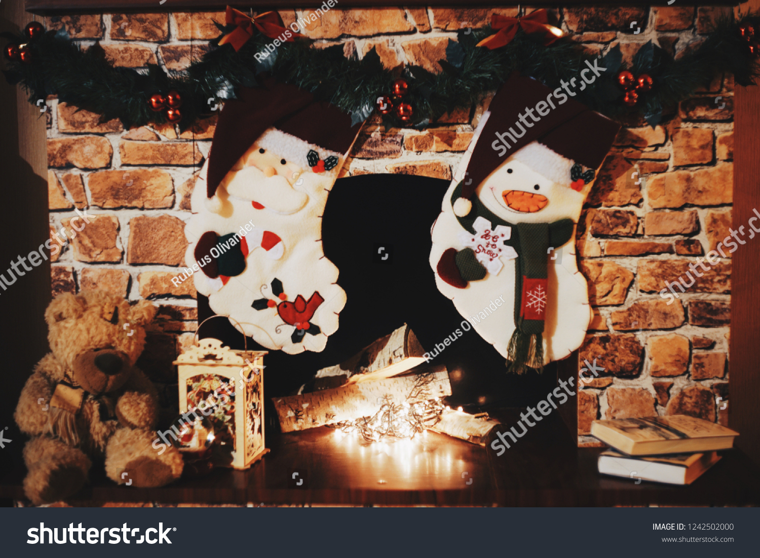 What Can I Use To Attach Christmas Lights To Brick christmas brick fireplace family hanging two   holidays