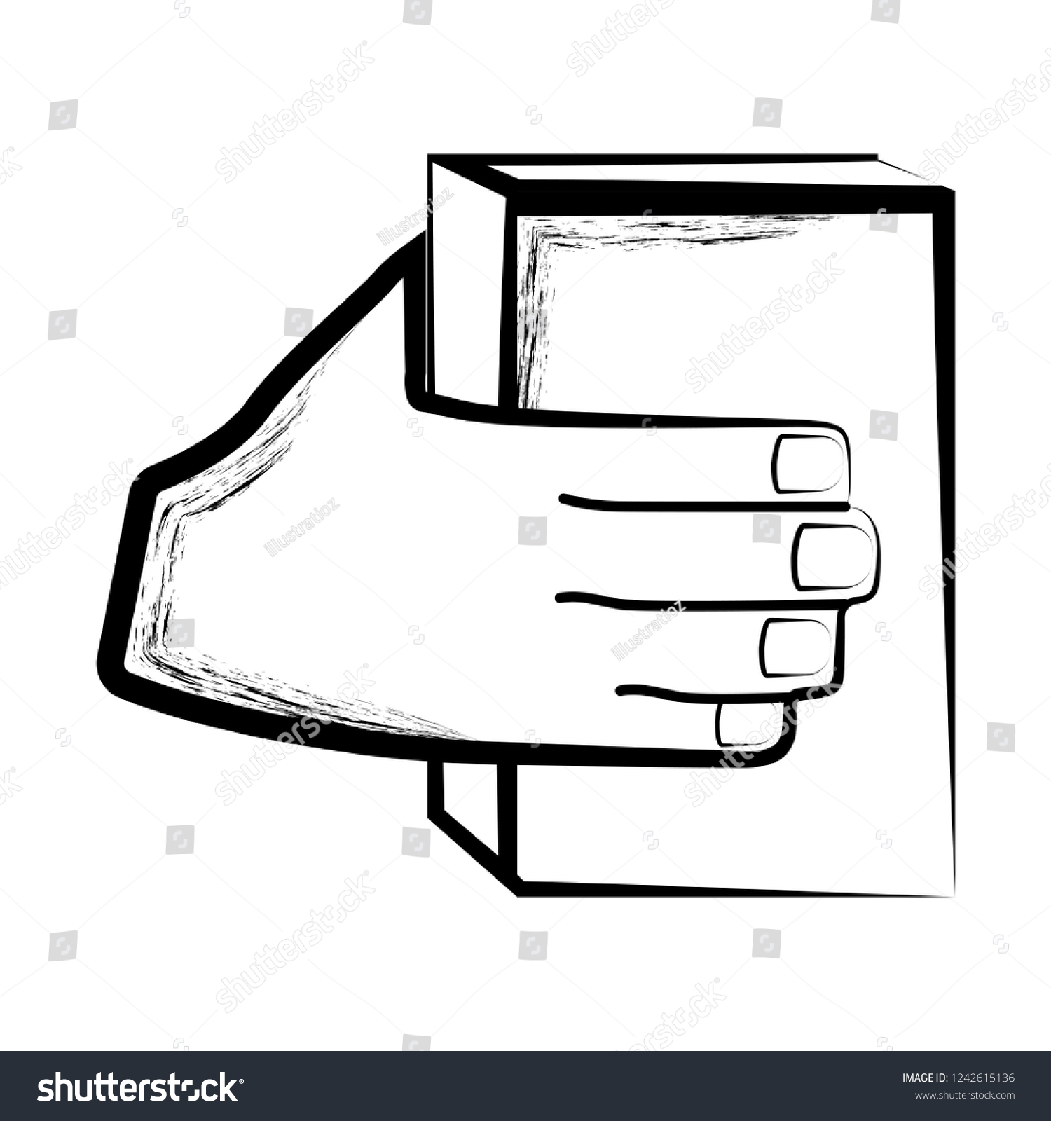 Sketch of a hand holding a book vector illustration design