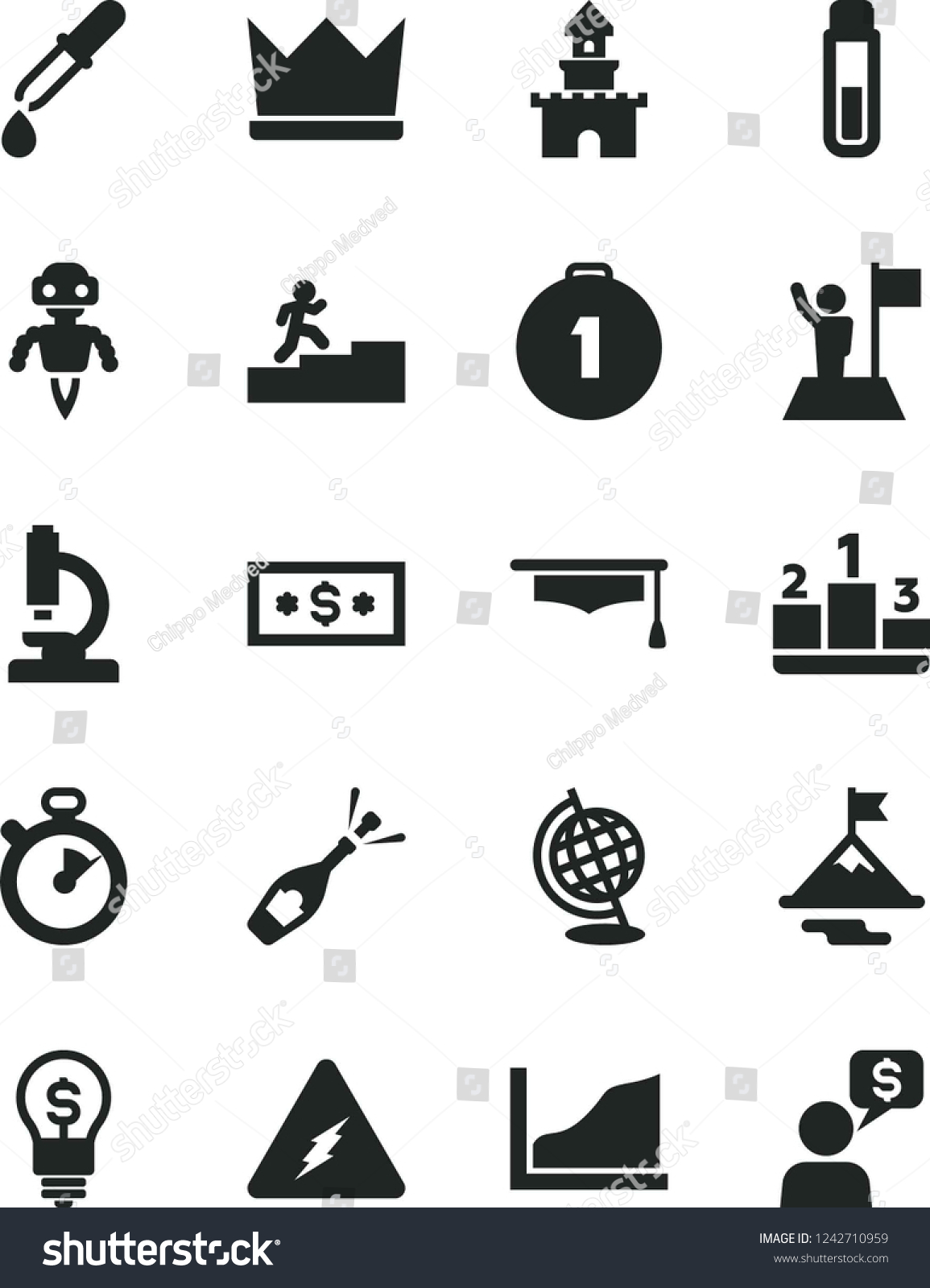 Solid Black Vector Icon Set Pedestal Stock Royalty Free Electricity Test Tube Microscope