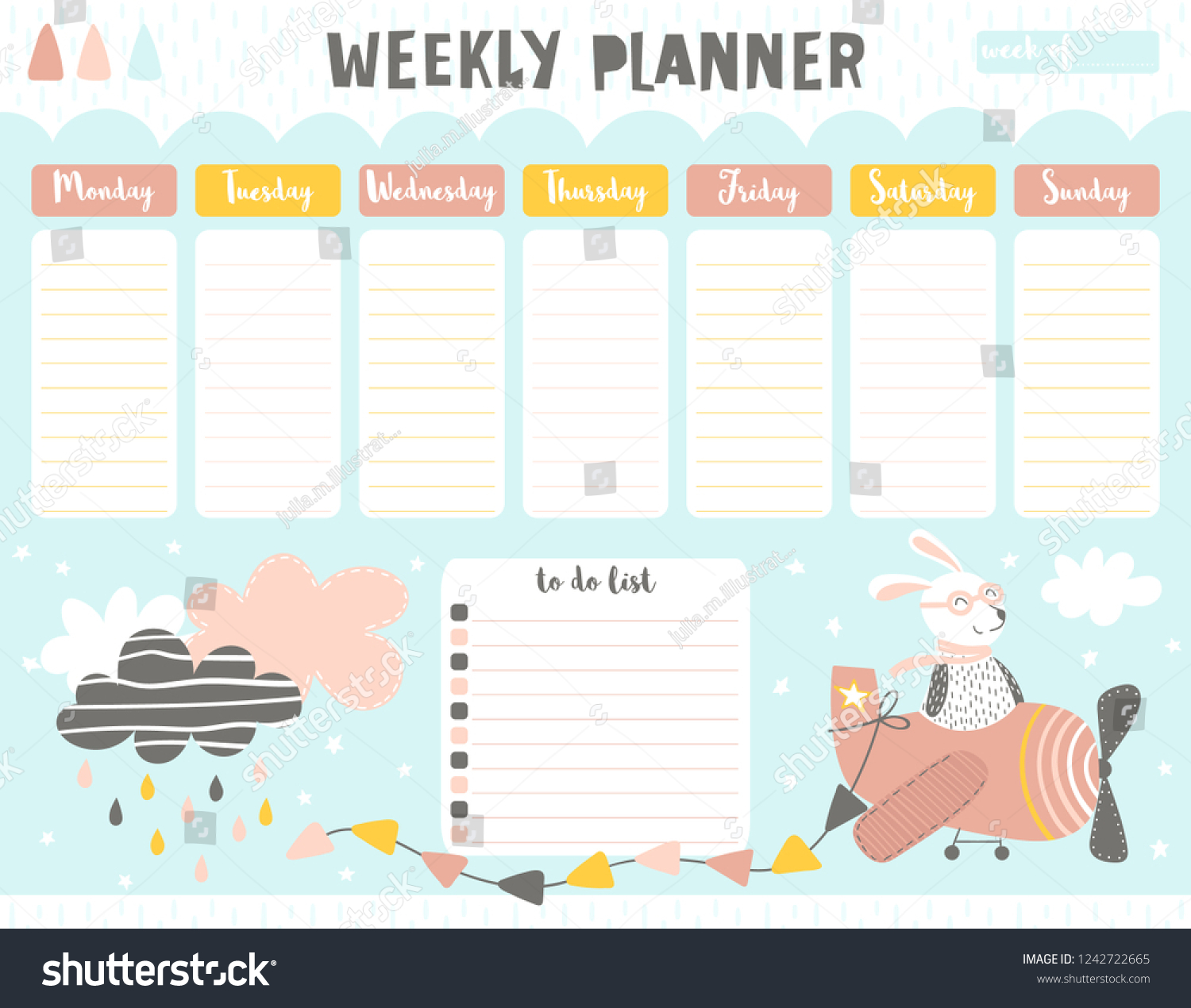 picture regarding Time and to Do Planner referred to as Childish Weekly Planner Do Record Lovely Inventory Vector (Royalty
