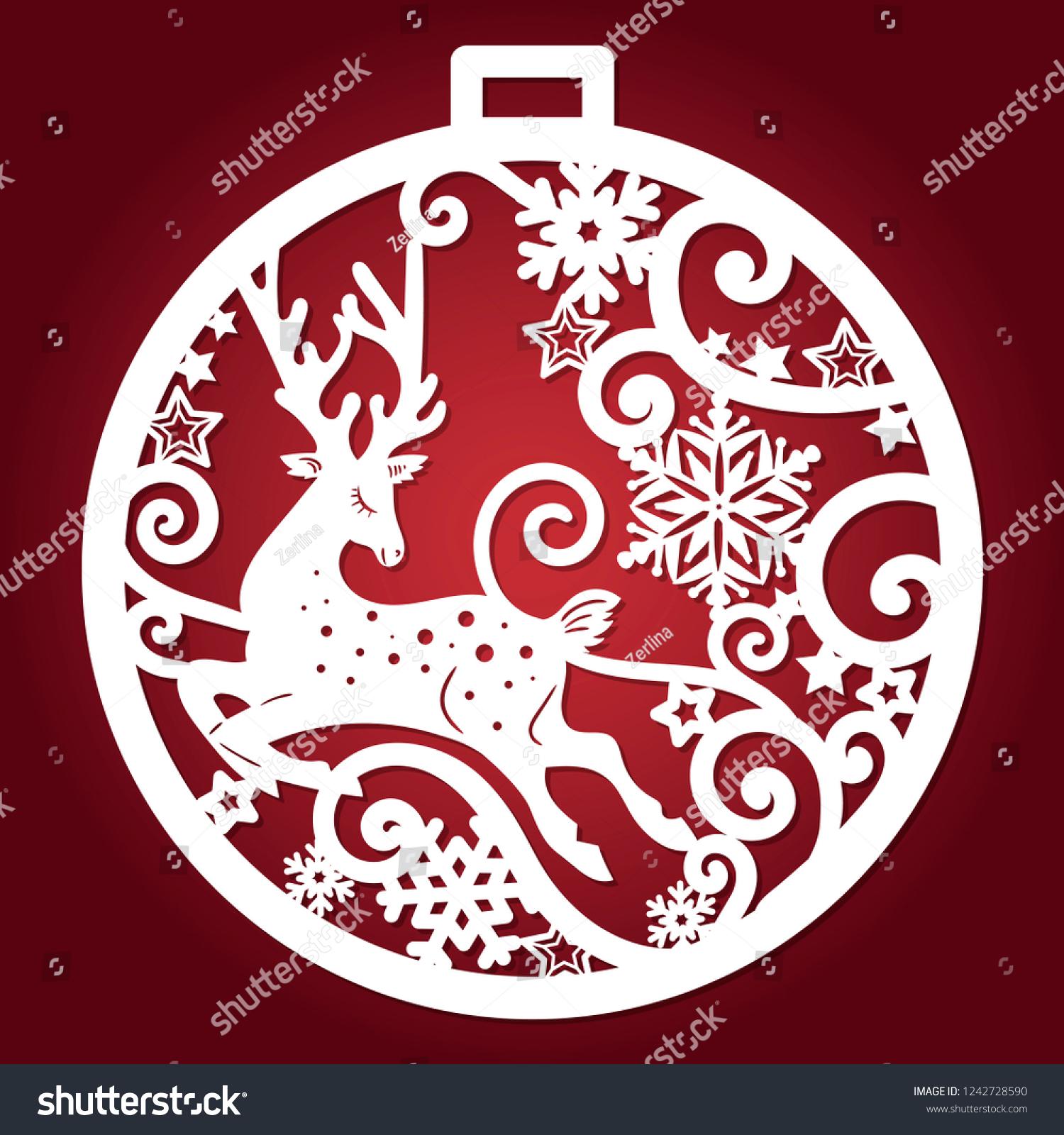 Template Laser Cutting Christmas Ball Deer Stock Vector Royalty