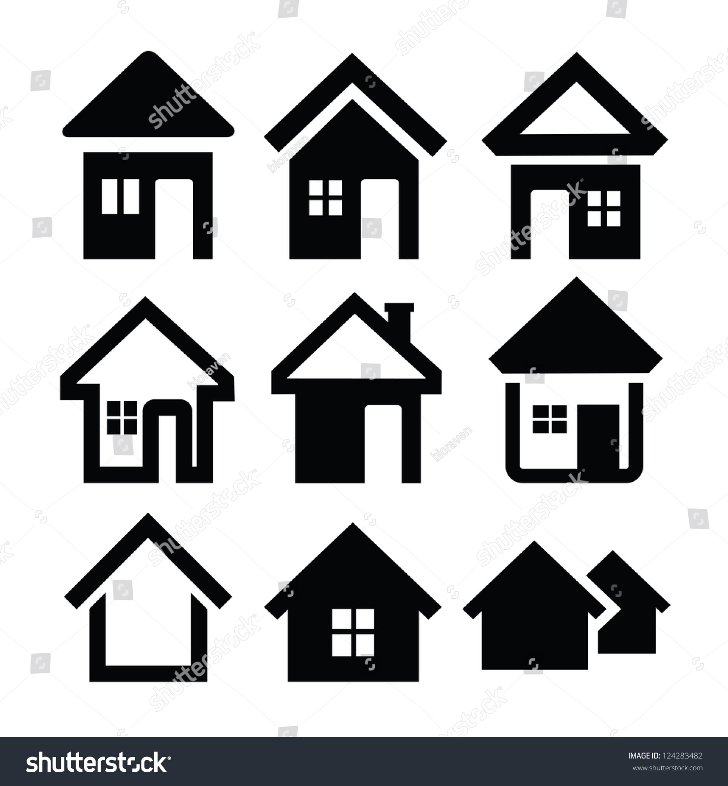 Vector Black House Icons Set On Stock Vector 124283482 ...