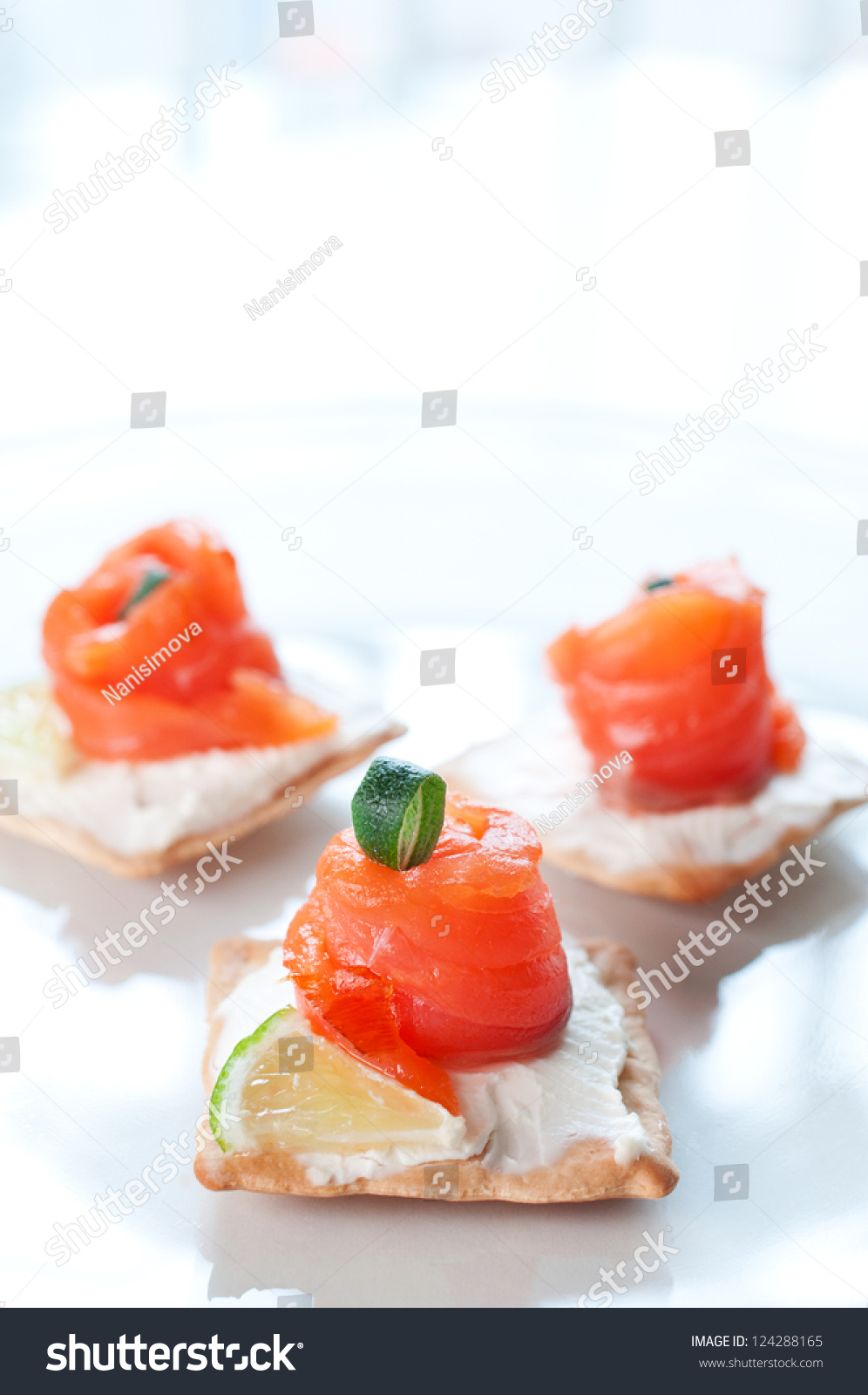 Canapes smoked salmon cream cheese on stock photo for Smoked salmon cream cheese canape