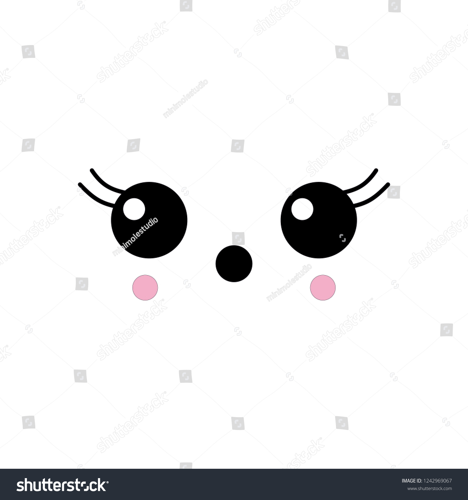 Vector illustration of a cute kawaii anime surprised face with pink cheeks and eyelashes