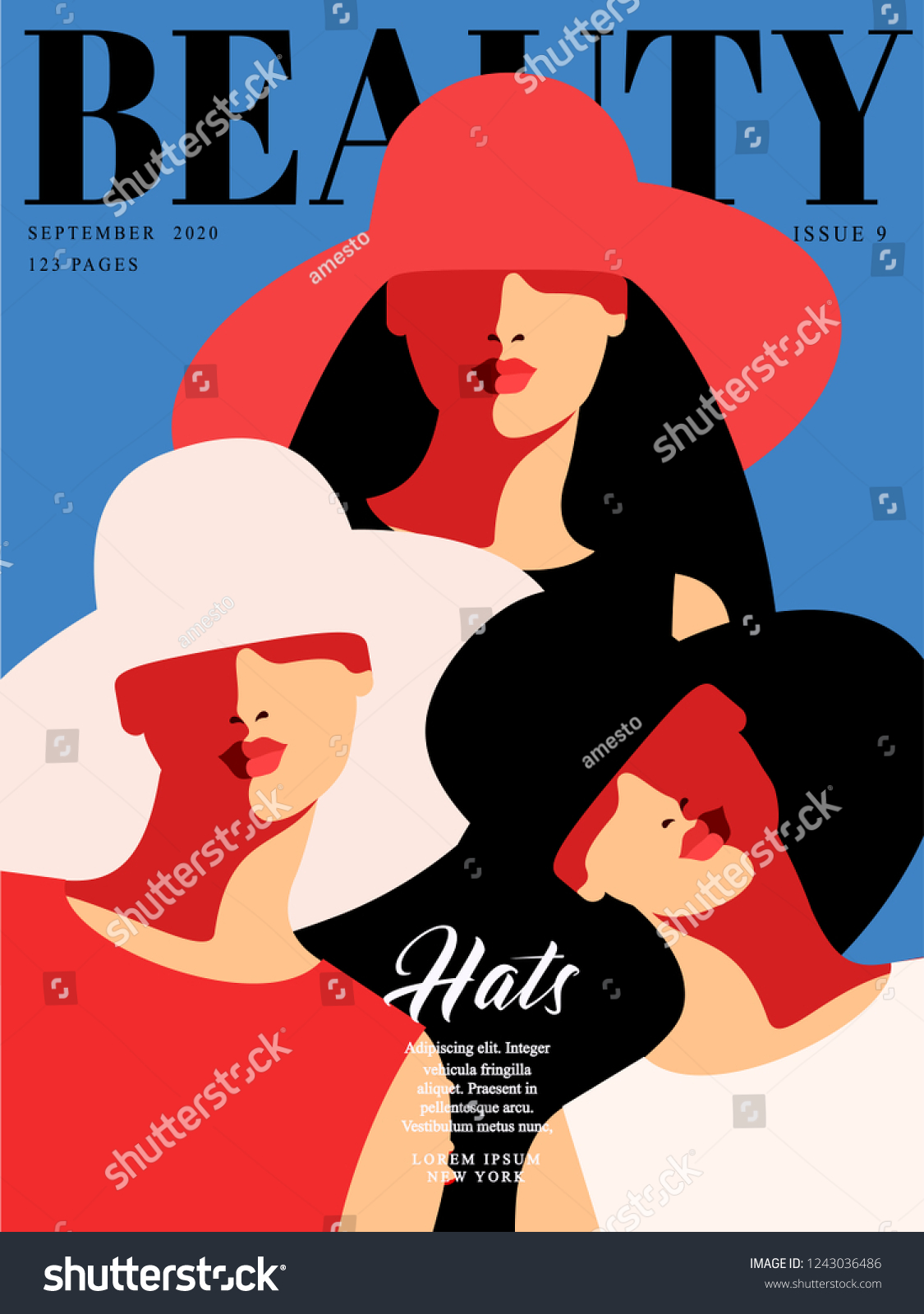 Fashion Magazine Cover Design Three Abstract Stock Vector Royalty Free 1243036486