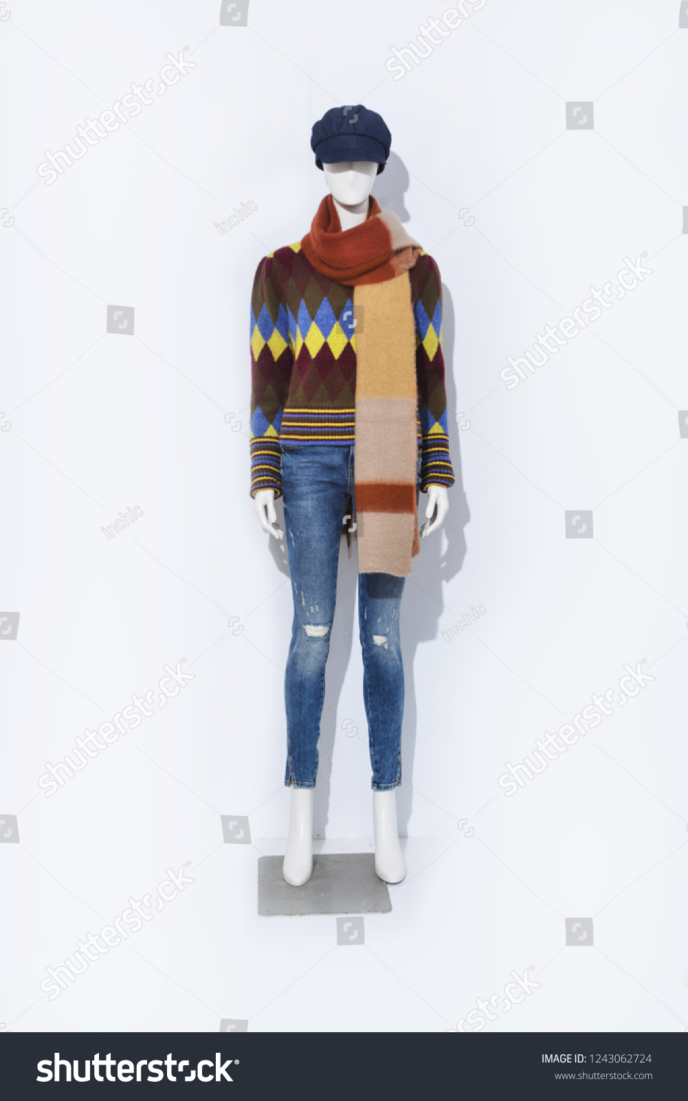 cf32abac5d1 Full Mannequin Female Checkered Sweater Stripy Stock Photo (Edit Now ...
