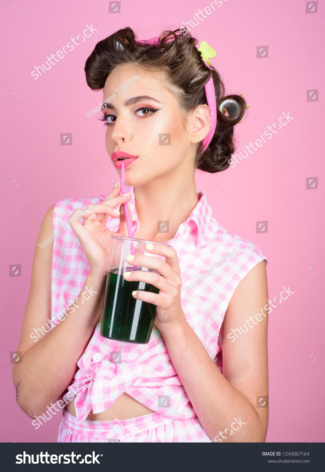 Pinup Girl Fashion Hair Pin Woman Stock Photo Edit Now 1243067164