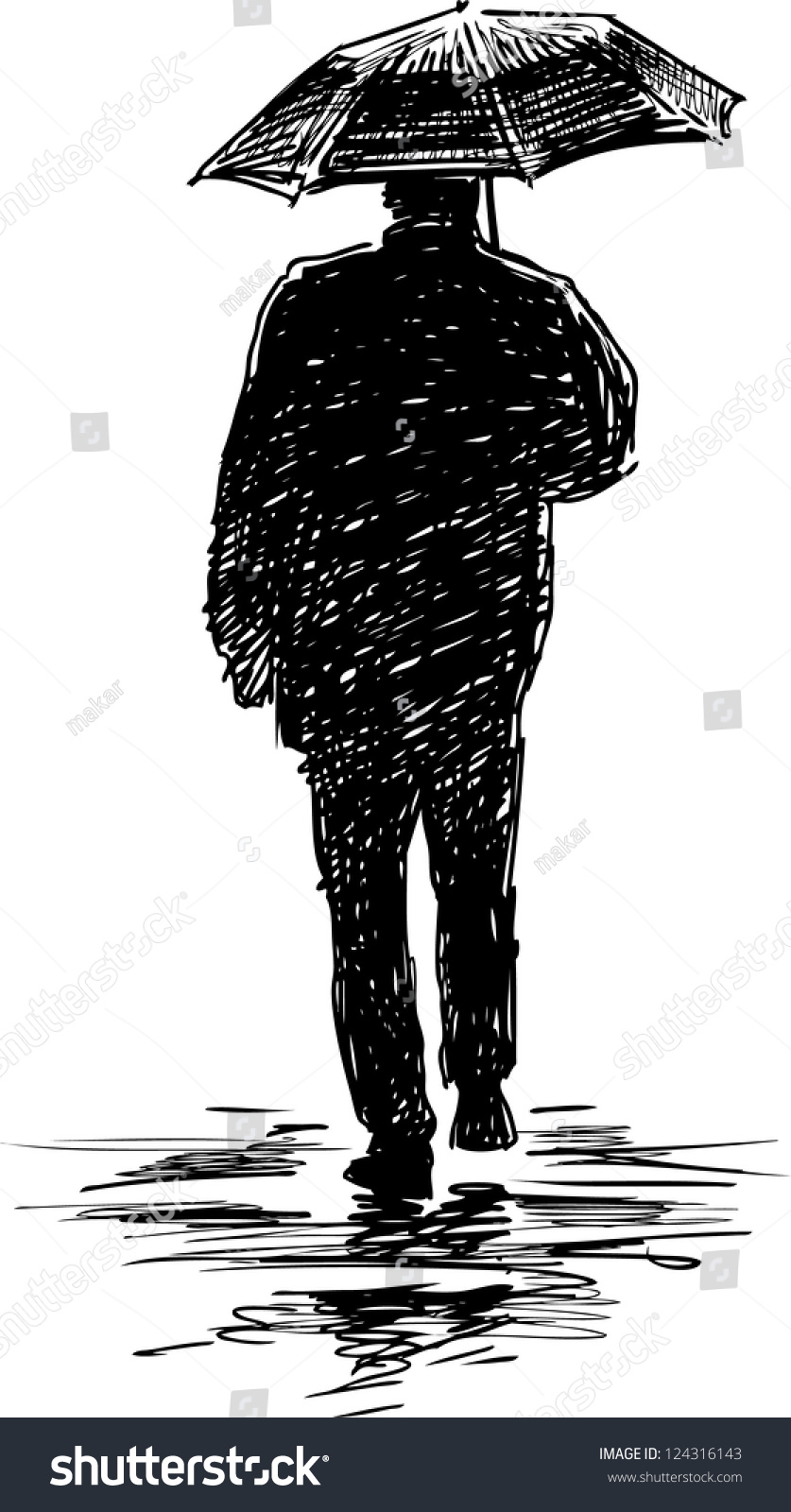 silhouette man under umbrella stock vector royalty free 124316143