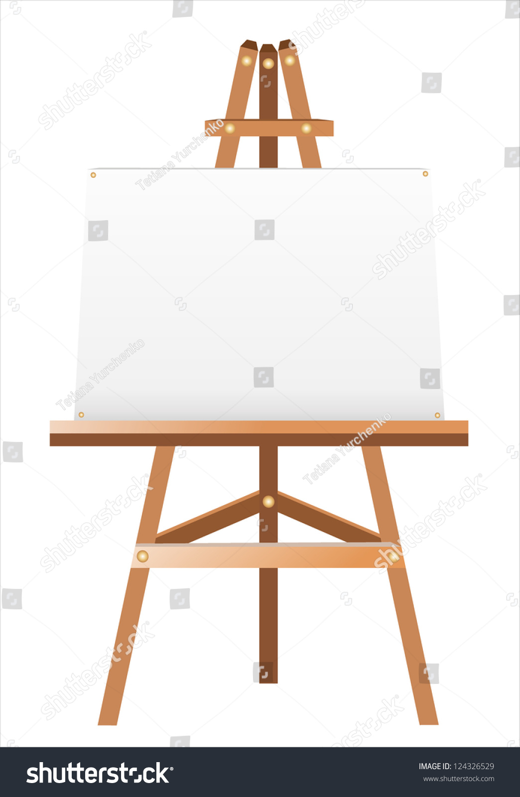 white canvas on easel stock vector royalty free 124326529