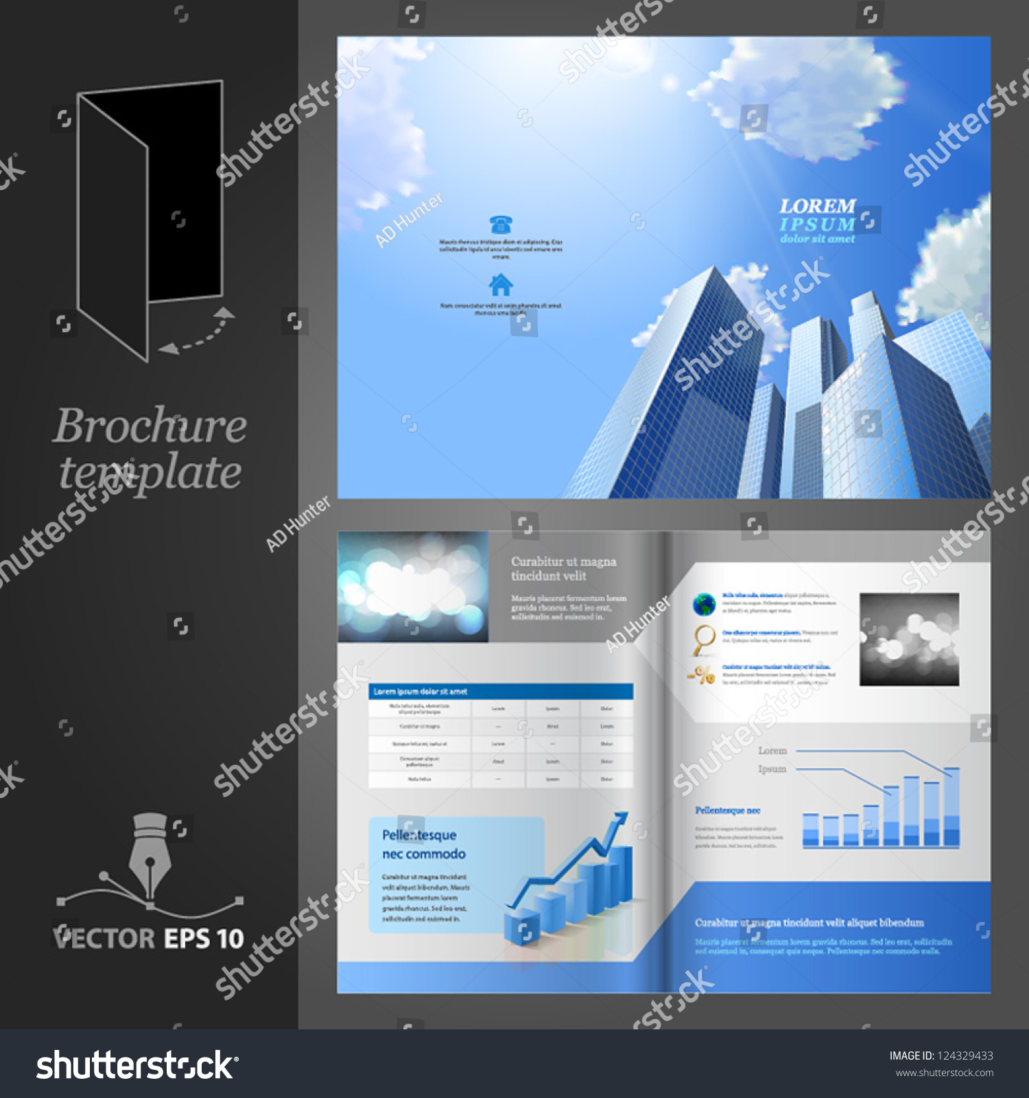 Brochure template design modern business center stock for Modern brochure template