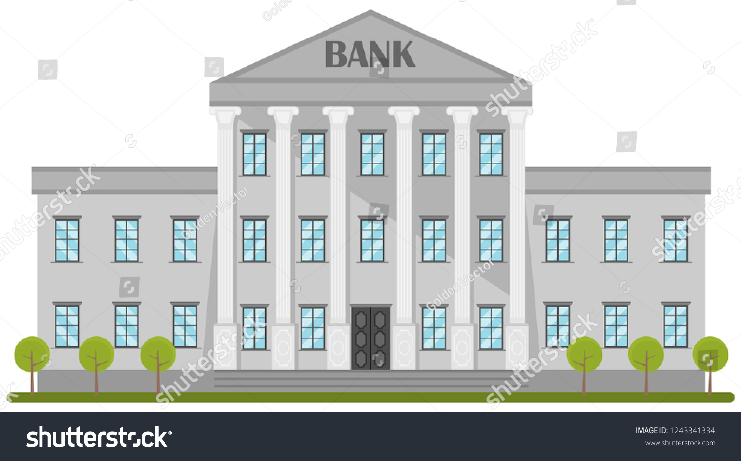 Retro Bank Design.Cartoon Retro Bank Building Courthouse Columns Stock Vector
