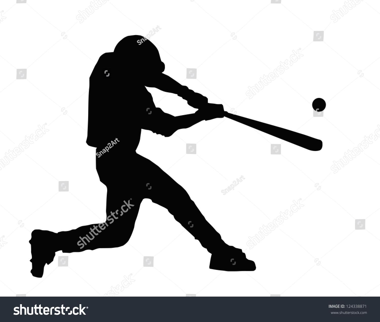 baseball batter hitting ball bat home stock vector 124338871
